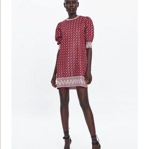 Zara Dresses - NWT Zara red Jacquard zig zag dress small S